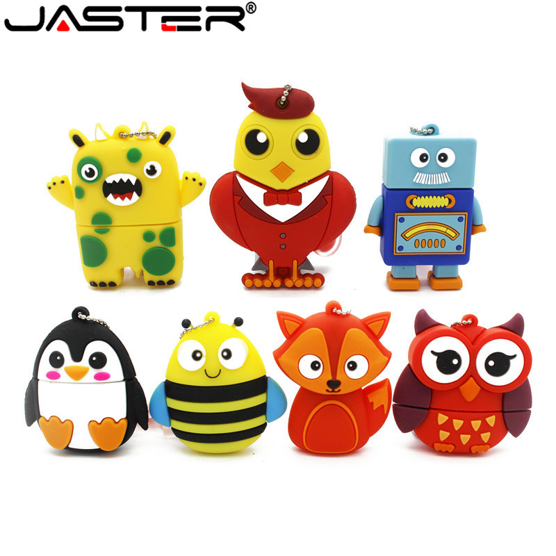 JASTER New Arrival Pendrive 4GB 8GB 16GB 32GB 64GB Silicone Mini Owl / Robot Usb Flash Drive Pen Drive Memory Stick Lovely Gift
