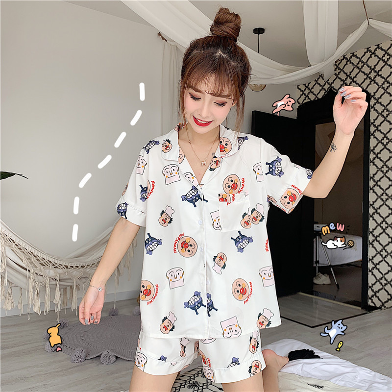 Summer New Style Korean-style Loose-Fit Cute Funny Printed Short Sleeve Shorts Casual Tracksuit Pajamas Suit