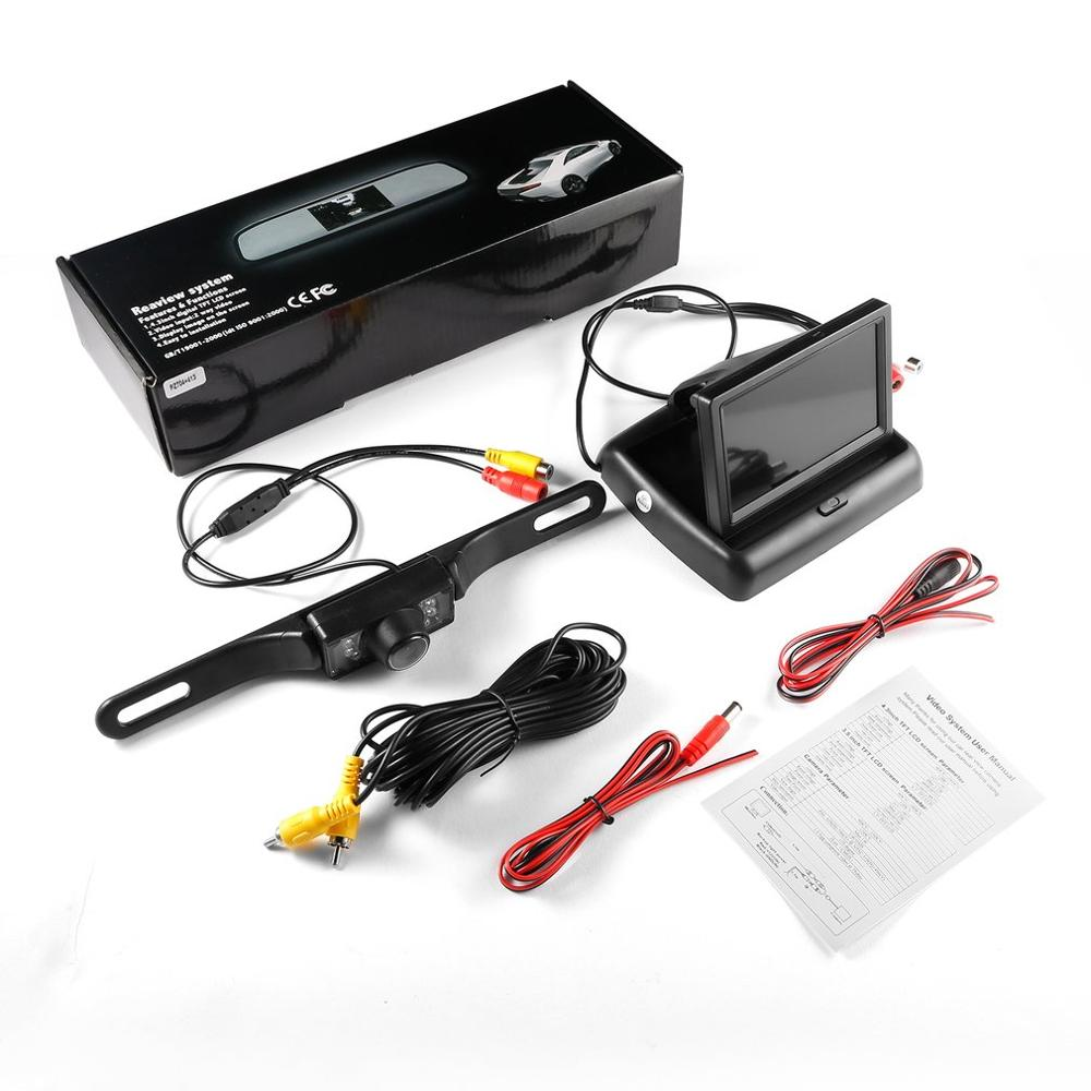 Rear View Backup Waterproof Camera 7 LED and <font><b>4.3</b></font> <font><b>LCD</b></font> Rear View Mirror Monitor Kit For Car Vehicle 170 Viewing Angle image