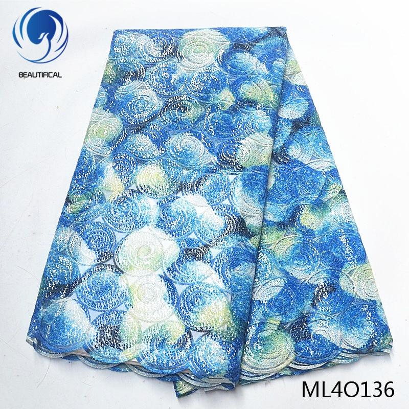 BEAUTIFICAL nigerian lace fabrics Hot sale african organza lace fabric 5yards organza sequins fabrics for women ML4O136