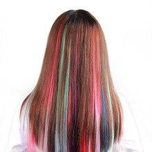 Штампованные славные 45 цветные длинные прямые Омбре синтетические волосы для наращивания чистый клип в один кусок полоски 20 дюймов шиньон