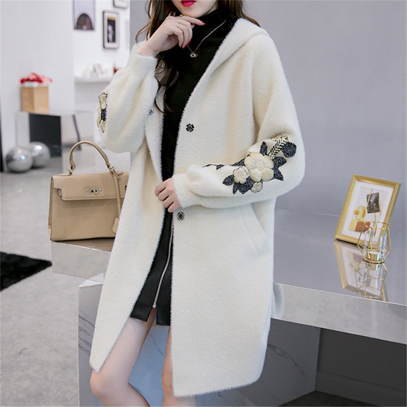 2019 New Women Long Outwear Faux Fur Coat Autumn Winter With Hat Embroidered Warm Single Breasted