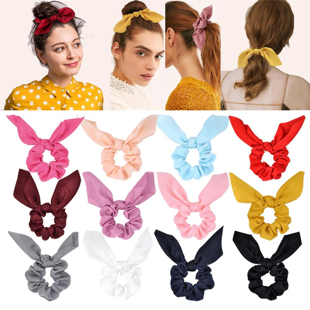 1Pc Colorful Chiffon Knot Bow Elastic Hair Bands Ponytail Holder Scrunchie Rubber Bands Fashion Hair Accessories