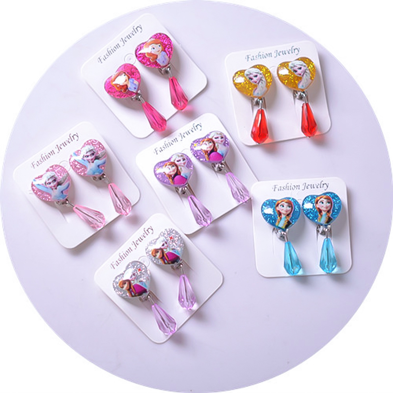 Frozen 2 Children's Earrings Elsa Princess Party Ear Pierced Lovely Cosplay Ear Clips New Cartoon Cute Pearl Kids Toys For Girl