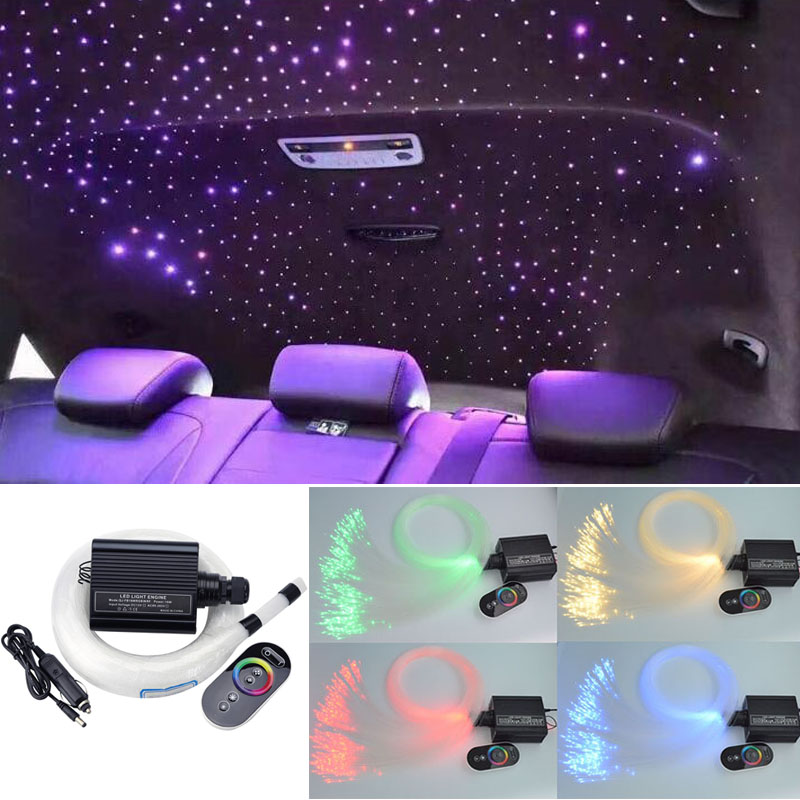 DC12V 16W RGB LED Fiber Optic Star Ceiling Light Kit Mixed 335Strands*(0.75mm+1mm+1.5mm)*3M  +Touch RF For Car Roof Star Ceiling