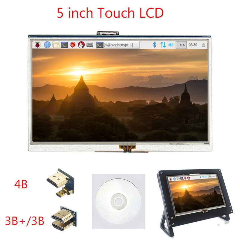 5 Inch Raspberry Pi 4 Model B Touchscreen TFT LCD Display Module + Acrylic Holder Compatible For Raspberry Pi 4 Model B/3B+/3B