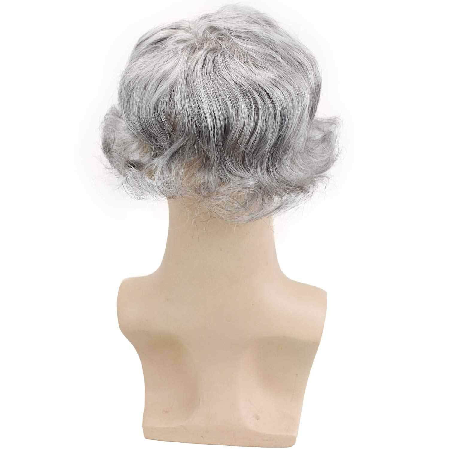"""Men's Toupee European Human Hair Replacement Wigs Mono Lace with PU Around 6""""x8"""" for Man 20% 1B Black Hair Mixed 80% Grey Color"""