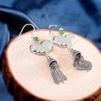 S925 Sterling Silver Jewelry Ethnic Style Ladies Hetian Jade Earrings Wishful Tassel