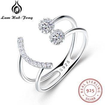 Resizable 925 srebrny pierścień musujące cyrkonia Smile projekt twarzy regulowany pierścień S925 biżuteria srebrna (Lam Hub Fong)