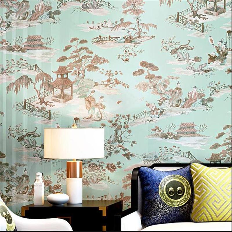 Wellyu chinois classique papier peint paysage peinture encre salon chambre thé maison hôtel restaurant papier peint - 4