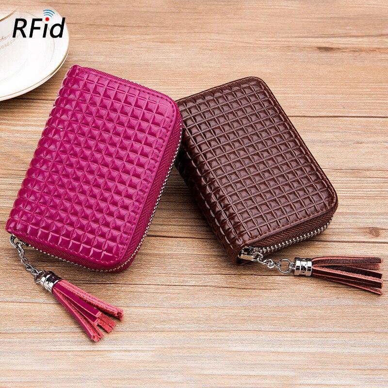 Brand New 16 Card Holder Organ Wallet Women's Genuine Leather RFID Anti-Scanning Korean-style Flow Purse Cowhide Large-Volume
