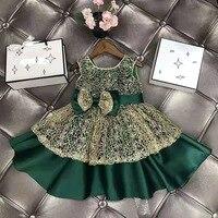 Girls' Lace Dress European and American Fashion Bow Sleeveless Girl Princess Pengpeng Dress Baby Girl Christmas Party Dress