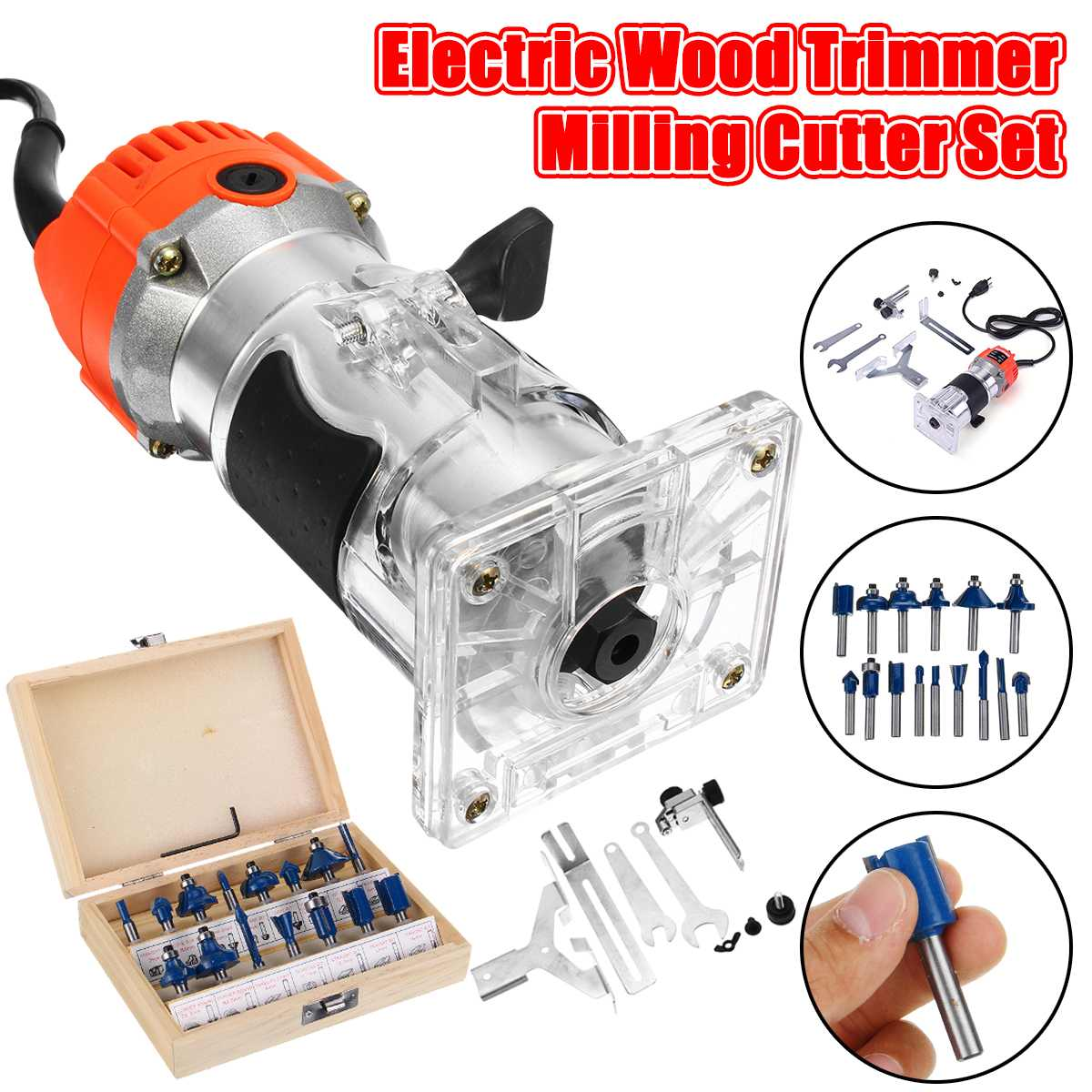 1200W 220V Electric Wood Trimmer Laminator 35000r/min Router Joiners Tool Set Aluminum+15pcs 6.35mm Collet Diameter Wood Router