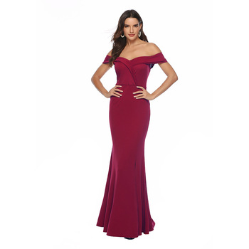 Sexy Women Off Shoulder Dress Maxi Party Long Dress Solid V-neck Bridesmaids