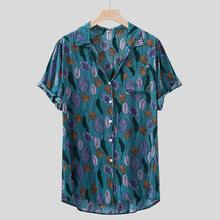 Casual Mens shirt Summer Hawaiian Printed Short sleeve Loose Buttons Shirt 8.13