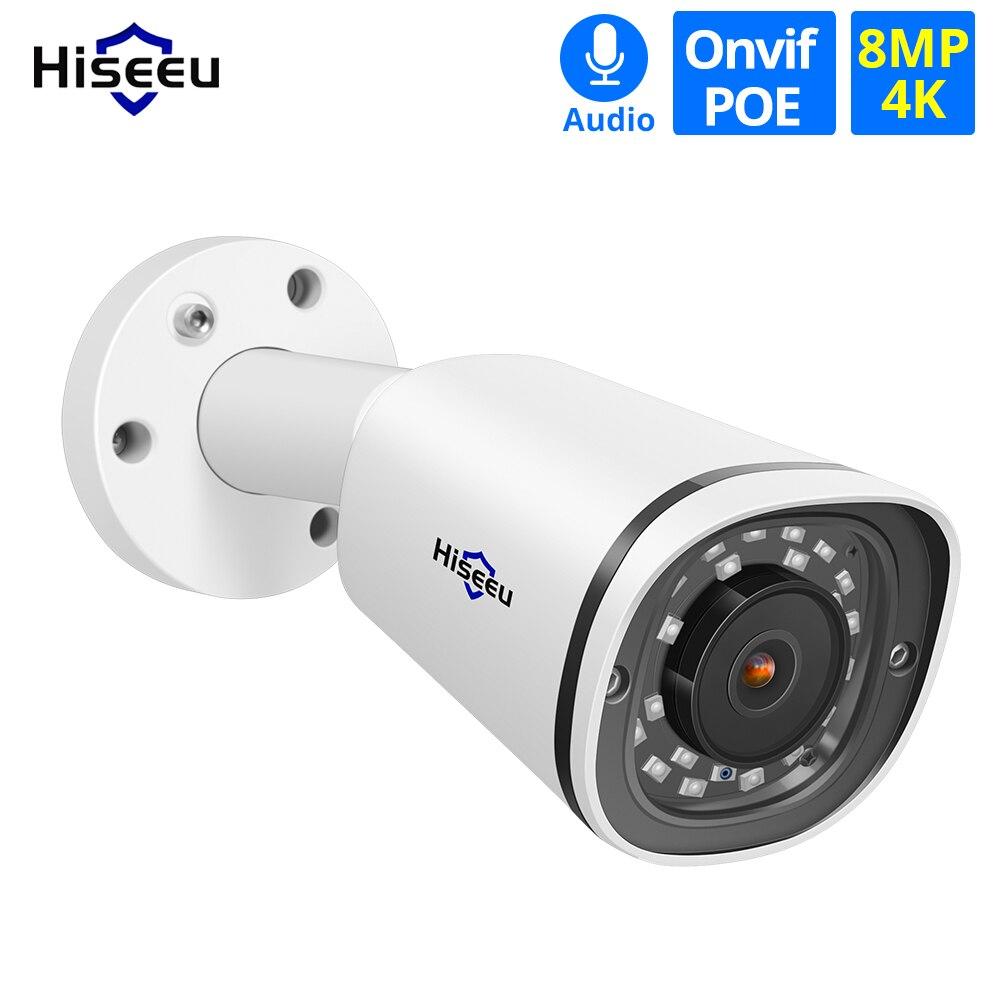 Hiseeu Bullet Camera Audio CCTV ONVIF Outdoor Motion-Detection Waterproof 8MP for POE