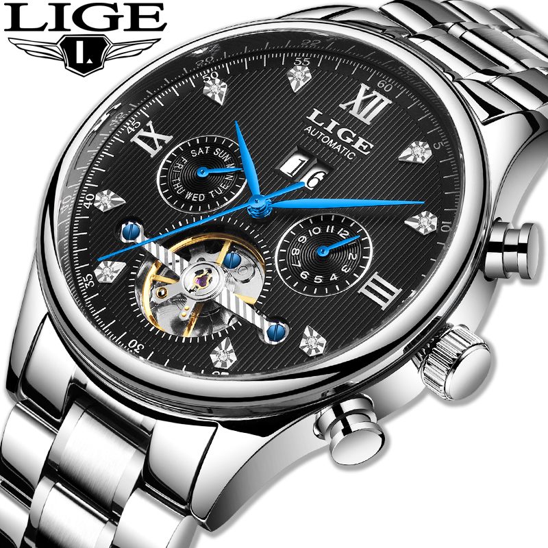 LIGE Hot Automatic Mechanical Men Watch Qriginal Top Brand Luxury Business Waterproof Military Tourbillon Clock Reloj Hombre+Box