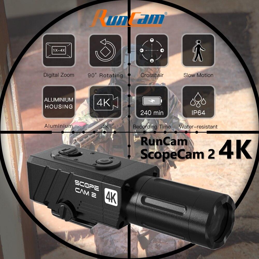 RunCam Сфера топливный фильтр грубой очистки 2 4K цифровой зум и индивидуальные крестов IP64 доказательство воды Пейнтбол Охота Камера Wi-Fi ScopeCam2