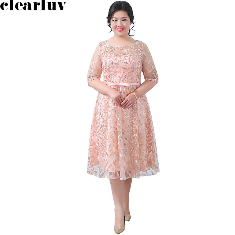 Three Quarter Sleeve Prom Gowns New Sequins Vestidos De Gala 2019 Plus Size Dresses Women Party Night Embroidery Prom Dress T184