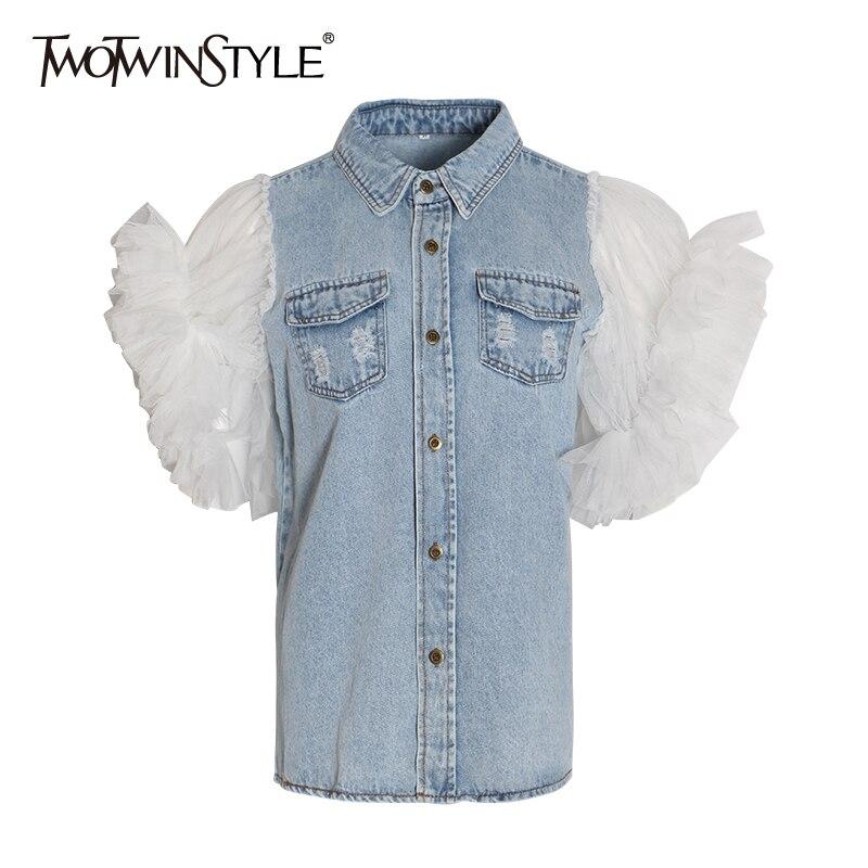 TWOTWINSTYLE Ruffles Denim Patchwork Women's Jacket Lapel Collar Puff Sleeve Summer Long Coats Female