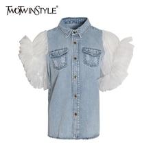 Женская джинсовая куртка TWOTWINSTYLE, летняя длинная куртка с оборками, отложным воротником и пышными рукавами