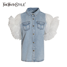 TWOTWINSTYLE ראפלס ינס טלאים נשים של מעיל דש צווארון פאף שרוול קיץ ארוך מעילי נקבה