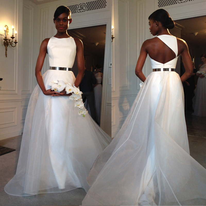 Gold Belt Organza Open Back A Line Cheap Custom Simple Elegant Wedding Bridal Evening Gown 2018 Mother Of The Bride Dresses