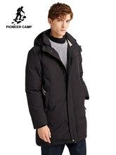 Pioneer camp jaqueta de inverno parques homens longo grosso com capuz preto branco cor sólida causal roupas masculinas 2020 amf903500