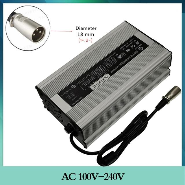 67.2V 10A Charger 60V 16S Lithium Li ion Battery Smart Charger 3 Pin XLR Connector