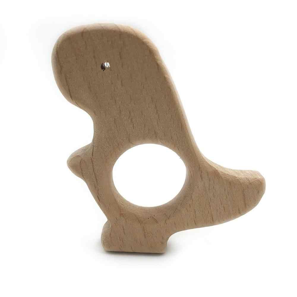 Kreskówki dla dzieci drewniane gryzaki Food Grade z drewna bukowego zwierząt naturalne drewniane kształt smoczek drewniane gryzak bezpieczne noworodka zabawki