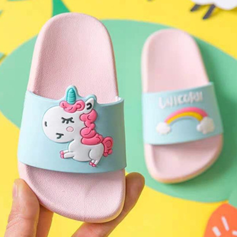 Summer Cute Slippers Unicorn Slippers Boy Girls Shoes Rainbow Toddler Shoes Baby Slippers Cartoon Beach Swimming Kids Slippers