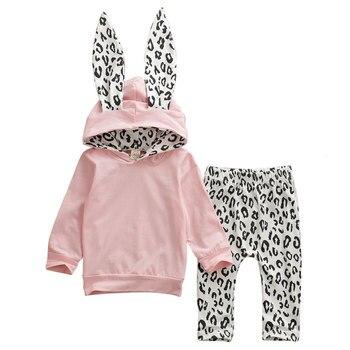 Ropa de invierno para bebés y niñas pequeñas, Sudadera con capucha y gorro con orejas de conejo recortadas, pantalones de leopardo, Atuendo para niños de 0 a 4 años