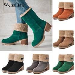 Botas de neve mulheres sapatos de inverno botas de tornozelo rebanho pele quente deslizamento em saltos quadrados sapatos plataforma senhoras botas mujer invierno 2019