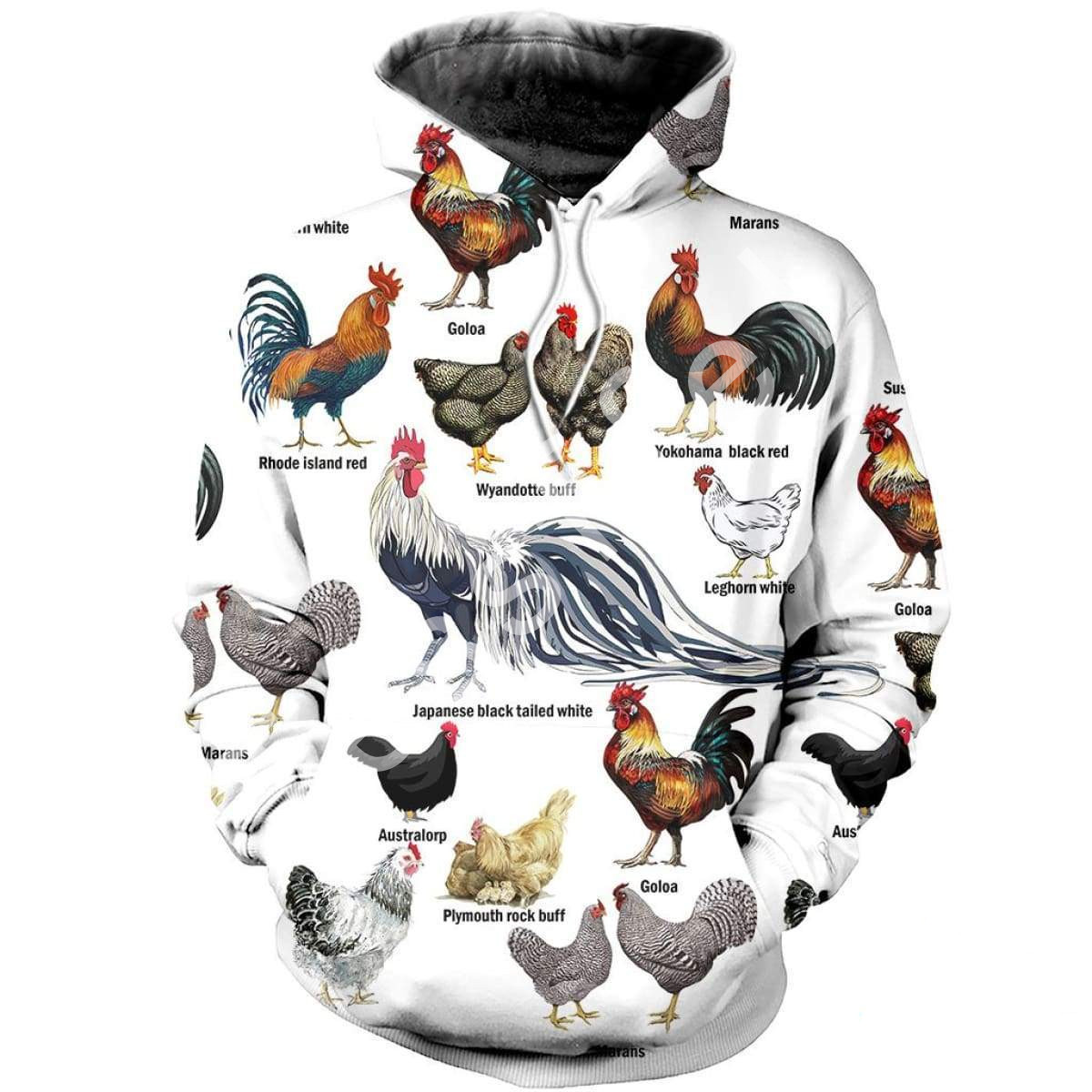 Tessffel Animal Chicken Bird MenWomen HipHop Sweatshirts Autumn Hoody Pullover Tracksuits Casual Crewneck Fit Colorful Style-6