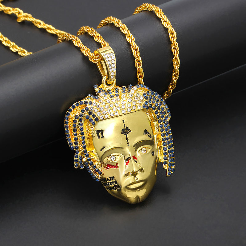 New Hip Rocker Character Pendant Xxxtentacion Crystal High Quality Necklace Gold Chain Commemorative Nameplate Necklace Jewelry