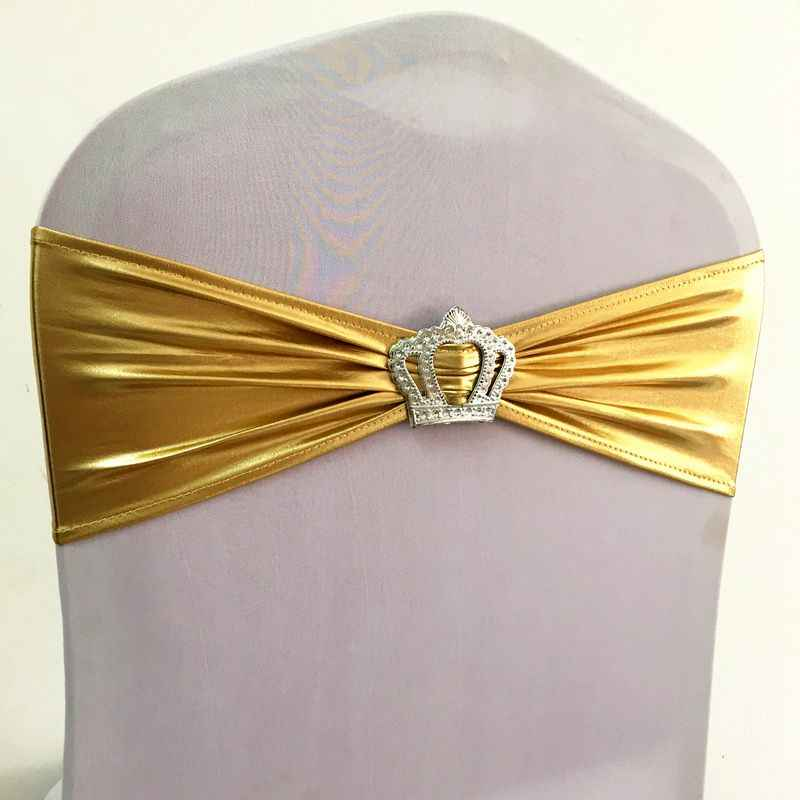 100pcs Shiny Metallic Gold Spandex Lycra Chair Sash Bands With Crown Buckle Bronzing Banquet Stretch Chair Bow Ties For Wedding