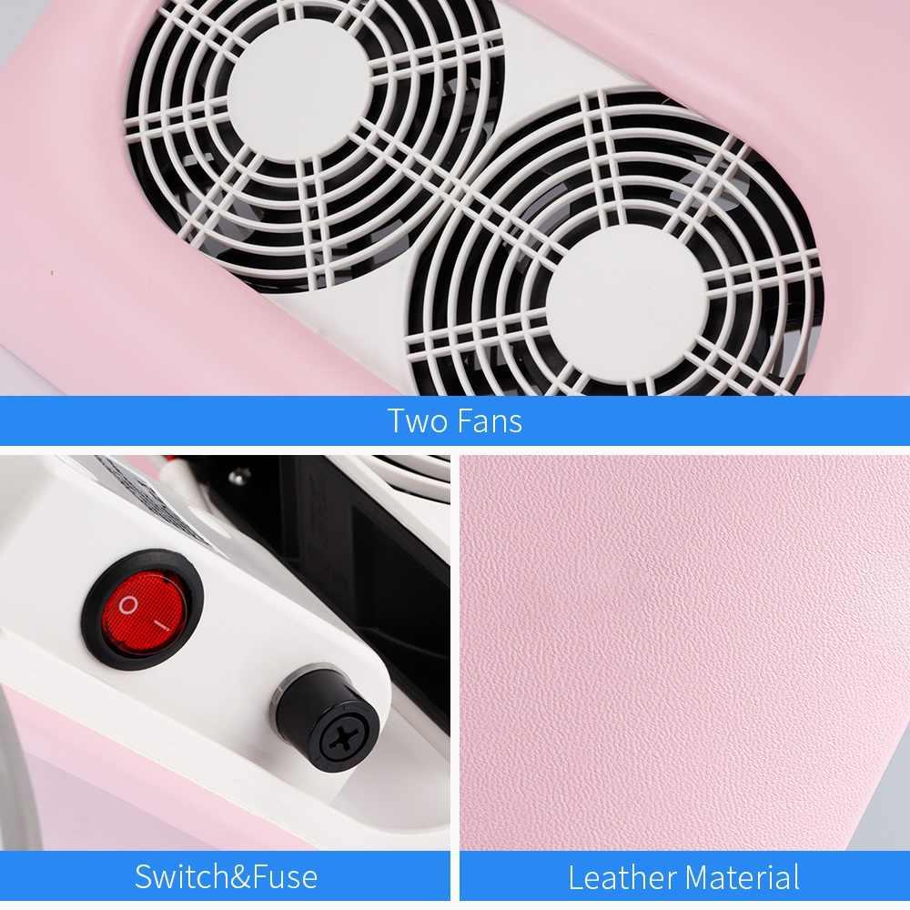 65W potente polvo de uñas de manicura máquina de vacío limpiador con 2 Fans esmalte de uñas de gel uv herramientas rosa polvo de uñas de succión