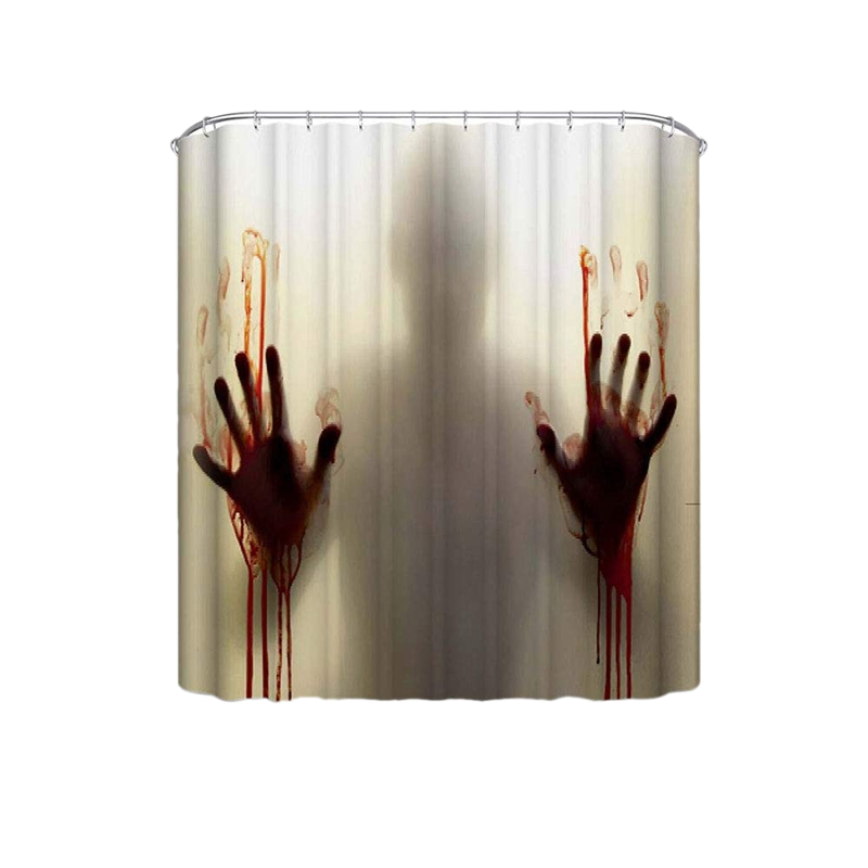 Halloween Shower Curtain Horror Bloody Hands Bathroom Curtains for Decoration