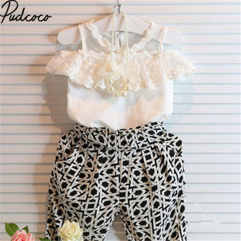 Pudcoco Girls Fashion Baby Kids Summer Lace Floral Sleeveless Tops+Print Pants Clothes Set Shirt Tops Haren Pants Outfits Set image