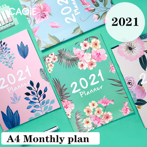 A4 Monthly Ageda 2020 2021 Planner Notebook Journal Organizer DIY 365 Days Plan Weekly Kawaii Writting Office Notepad Stationery