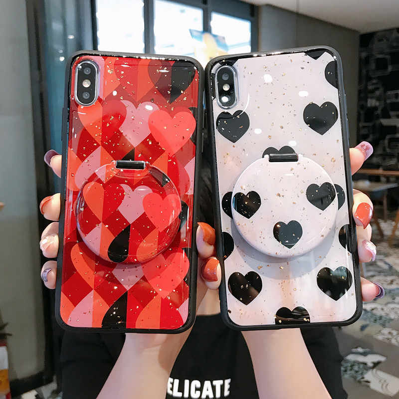 For Samsung Note10plus S10 DIY Makeup Mirror Bracket Love Heart Glitter phone Case For iPhone 11 Pro Max MAX 6 7 8 Plus Coque