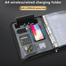 A4 Wireless Charging Folder Portfolio Multi-function Organizer Office Manager Clip Writing Pad With Calculator And 8000mAh Power