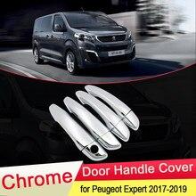 Для Peugeot Expert Traveller 2017 2018 2019 Luxuriou хромированная крышка для дверных ручек набор для отделки автомобильных крышек Стайлинг наклейки аксессуары