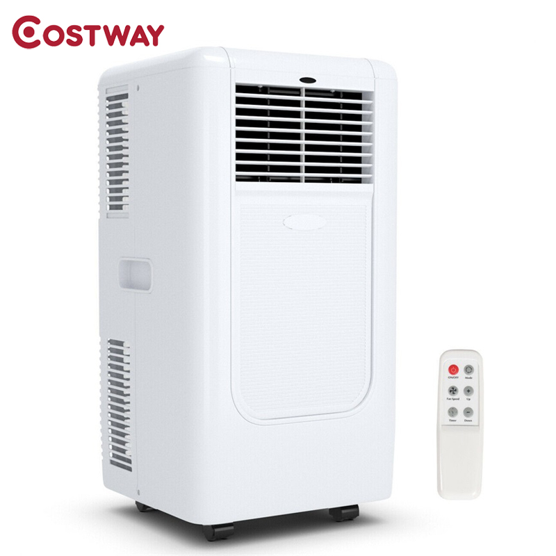 COSTWAY Portable 10000 BTU Air Conditioner Cooling Dehumidify Timer Remote White Portable Home Air Conditioners EP23572