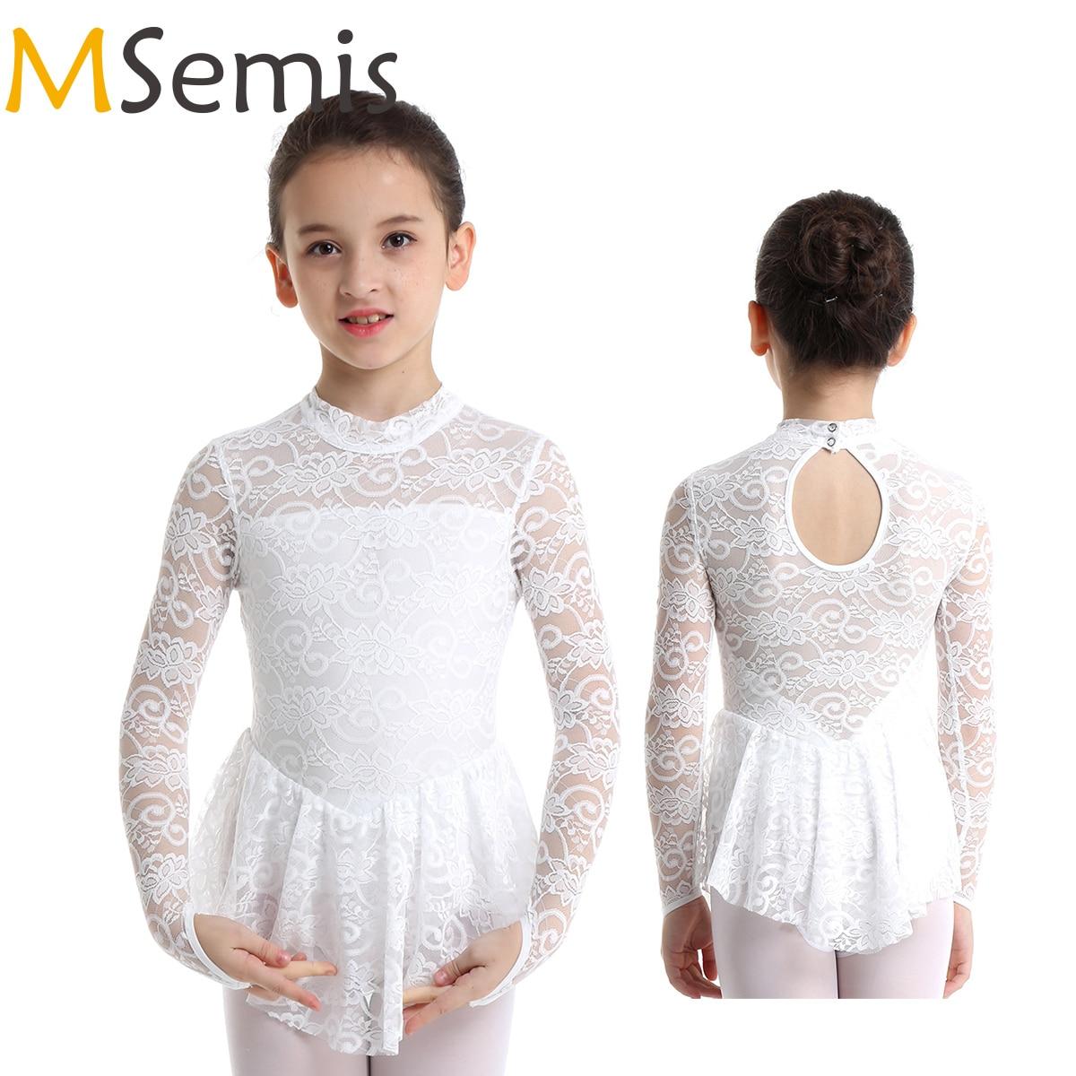 MSemis Kids Girls High Turtleneck Floral Lace Figure Ice Skating Roller Skating Dress Ballet Dance Leotard