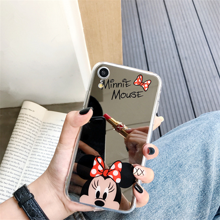 Cartoon Minnie Mirror Phone Case For Samsung Galaxy S10 S10plus S9 S9plus S8 S8plus Coque High Quality Soft TPU Back Cover Funda image