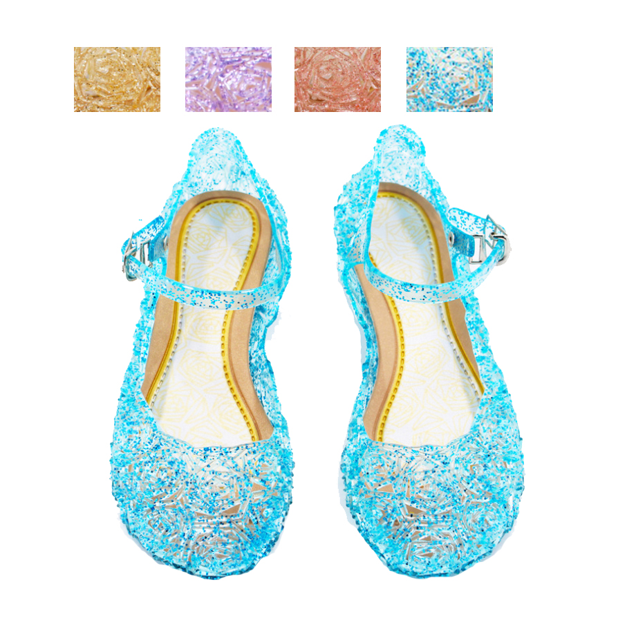Princess Anna Elsa Shoes Cinderella Crystal Costume Shoes Baby Girls Cosplay Costume Sandals Party
