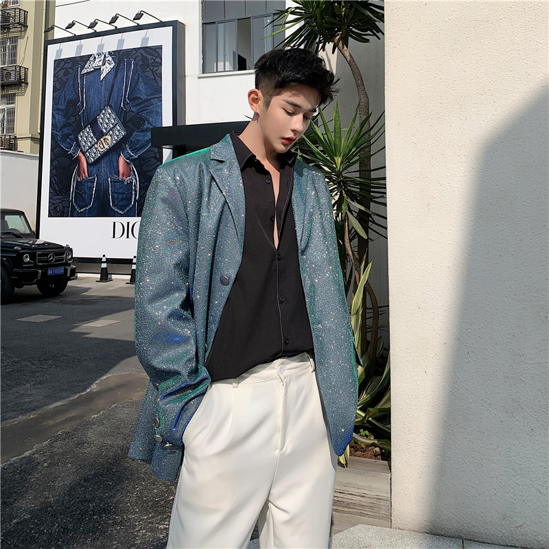 Men New Blue-green Shining Casual Blazer Jacket Overcoat Male Vintage Fashion Suit Coat Outerwear Stage Fashion Show Clothes