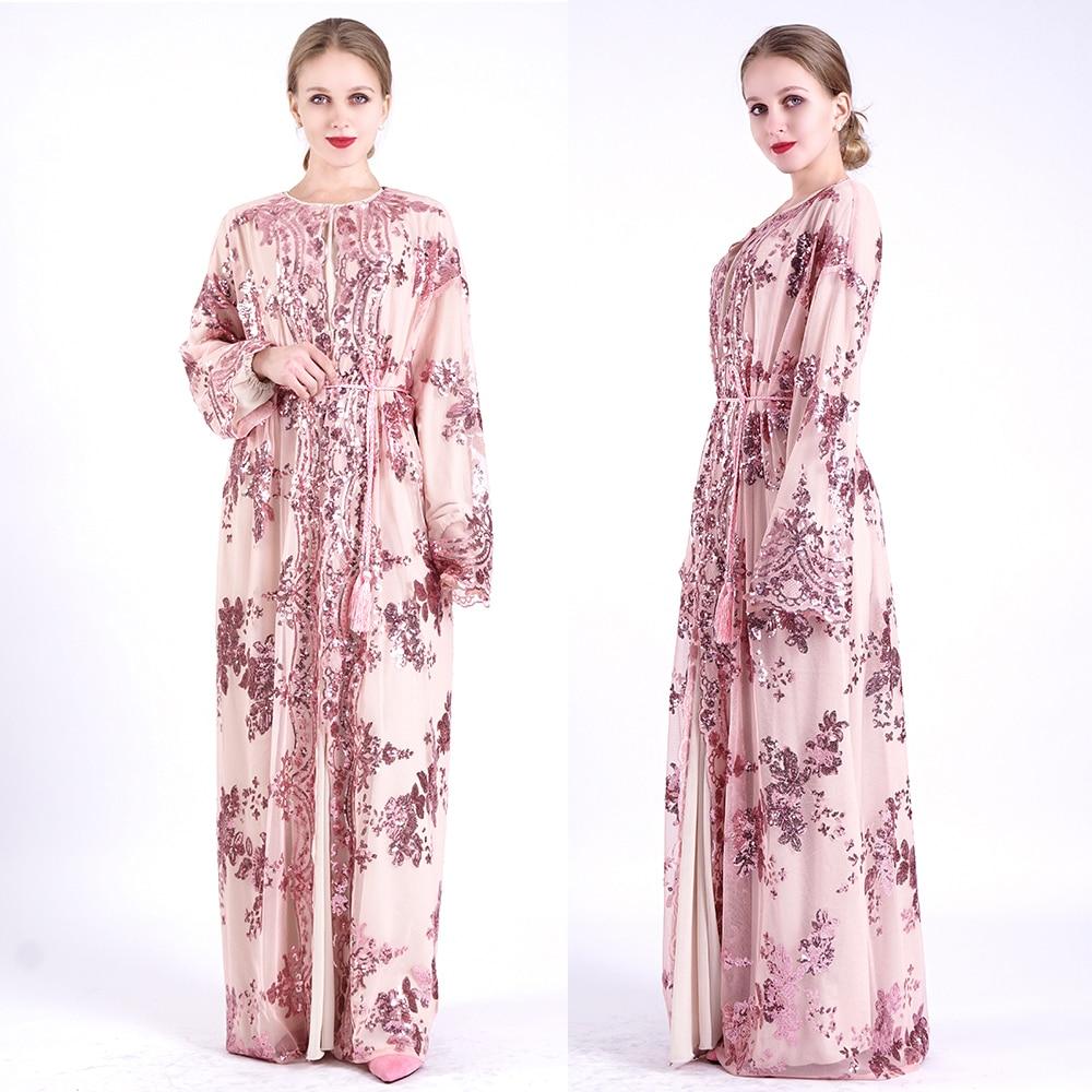 Open Sequin Abaya Kimono Cardigan Muslim Hijab Dress Women Dubai Kaftan Turkish Islam RamadanEid Mubarak Abayas Saudi Arabia