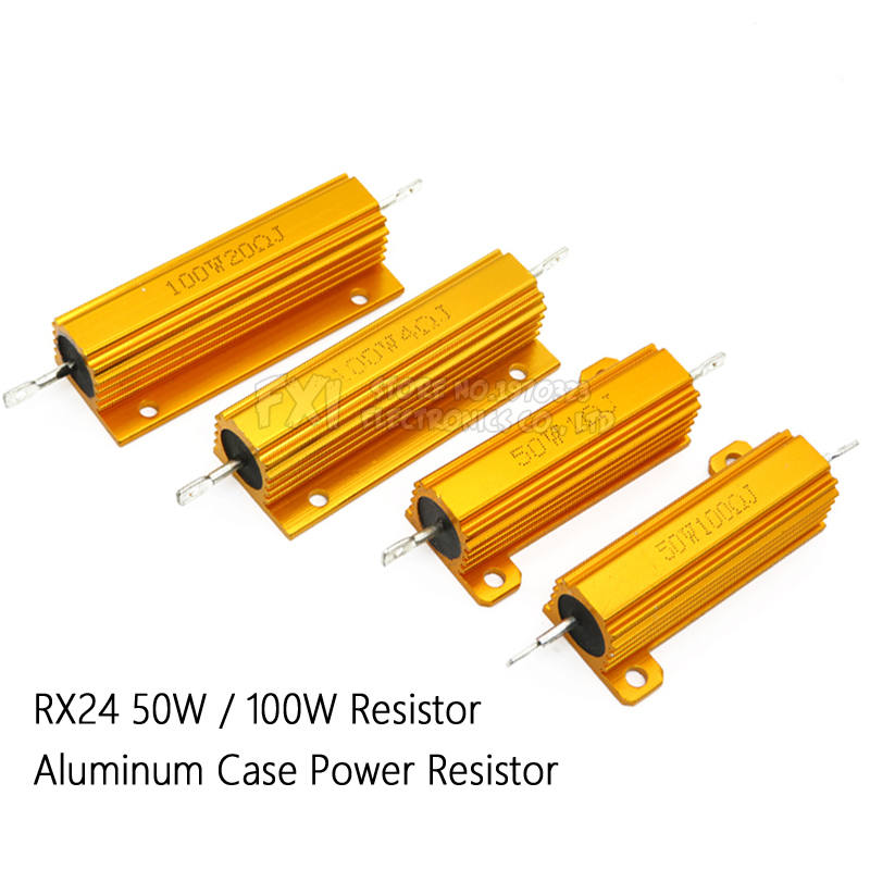50W 100W Aluminum Power Metal Shell Case Wirewound Resistor 0.01R ~ 100K 1 6 8 10 20 200 500 1K 10K ohm resistance RX24 Igmopnrq 1